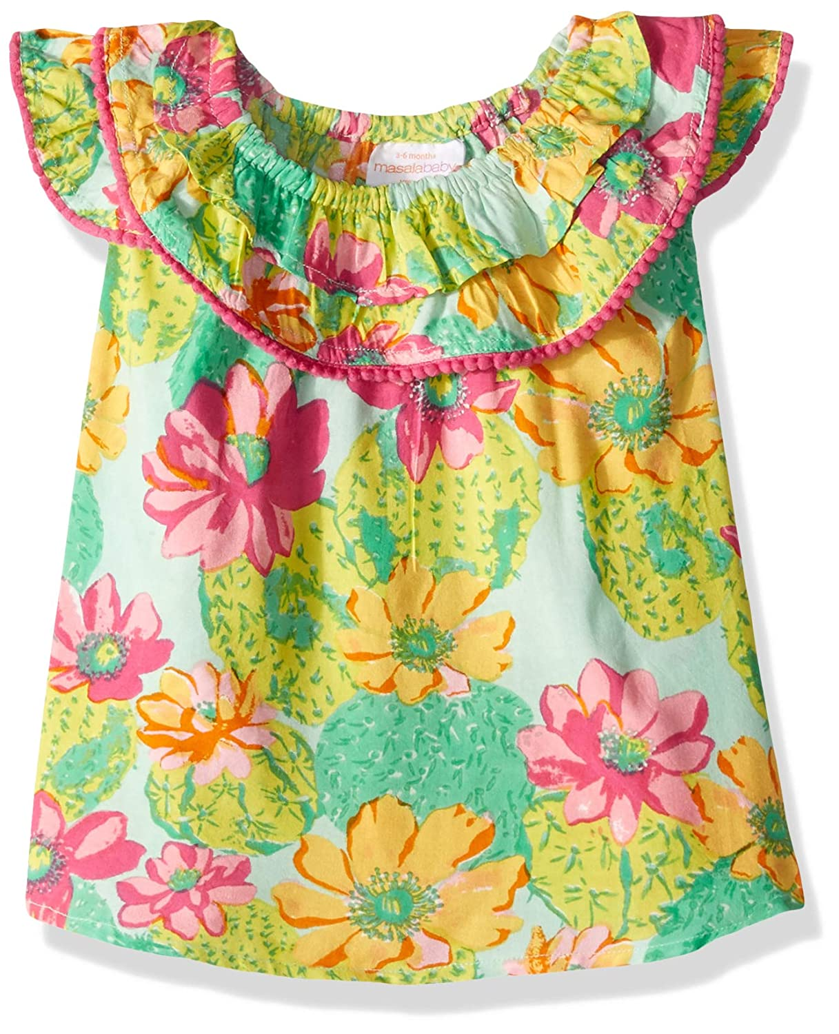 Masala Baby Baby-Girls Flutter Dress Cactus Floral Multi Casual Dress