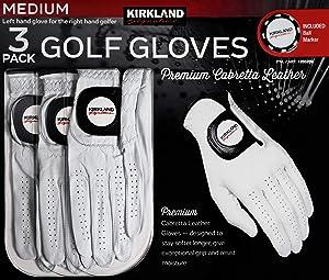 KIRKLAND SIGNATURE Men's Golf Gloves Premium Cabretta 3 Pack