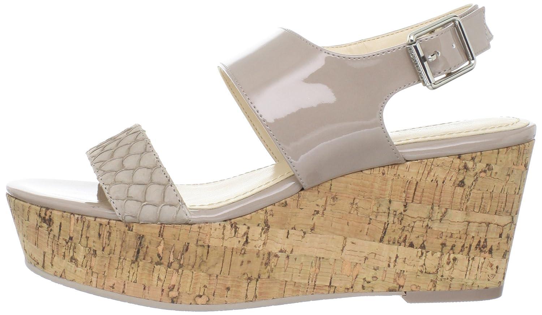Calvin Klein Women's Lorianne Two-Tone Patent Platform Sandal B00684LRNG 9 B(M) US|Light Taupe Two Tone Patent