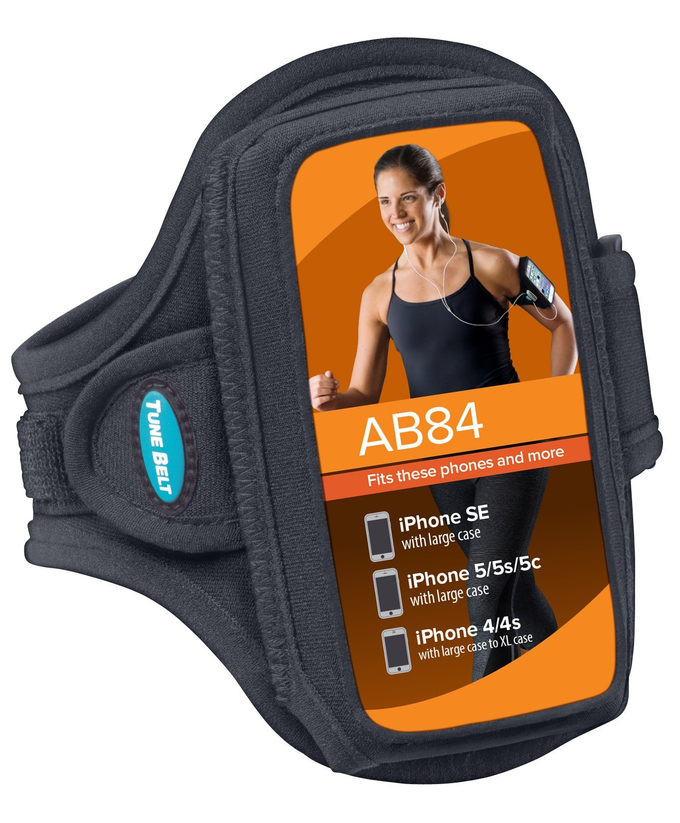 Armband for iPhone SE, 5, 5s, 5c, 4, 4S with OtterBox Defender, Commuter or Other Large Case – Great for Running & Working Out [Black] by Tune Belt (Image #2)