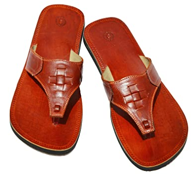 14b3222c5 Handcrafted Luxury Men Brown Leather Sandals Biblical Sandals Double Strap  Hippie Indian Slippers (6 UK