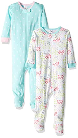 Amazon.com  Gerber Baby Girls  2-Pack Footed Unionsuit  Clothing a9d9c83b9