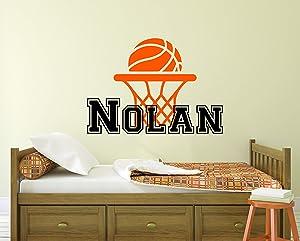 "Custom Name Basketball Sports Wall Decal - Boys Girls Personalized Name Basketball Wall Sticker - Basketball Net Name Sign Room Vinyl Sticker (30""W x 22""H)"