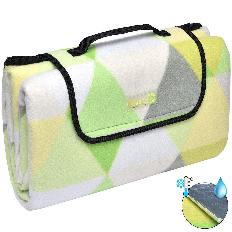 Beautissu BellaKa Picnic Blanket Waterproof Backing 200 x 200 cm Large Grey Tartan Compact Fleece Outdoor Mat with Bag