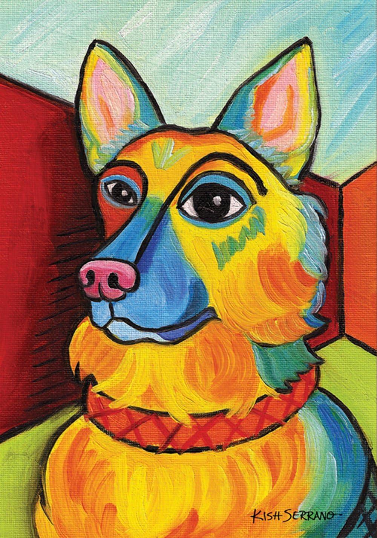 Toland Home Garden Pawcasso German Shepherd 12.5 x 18 Inch Decorative Puppy Dog Portrait Garden Flag