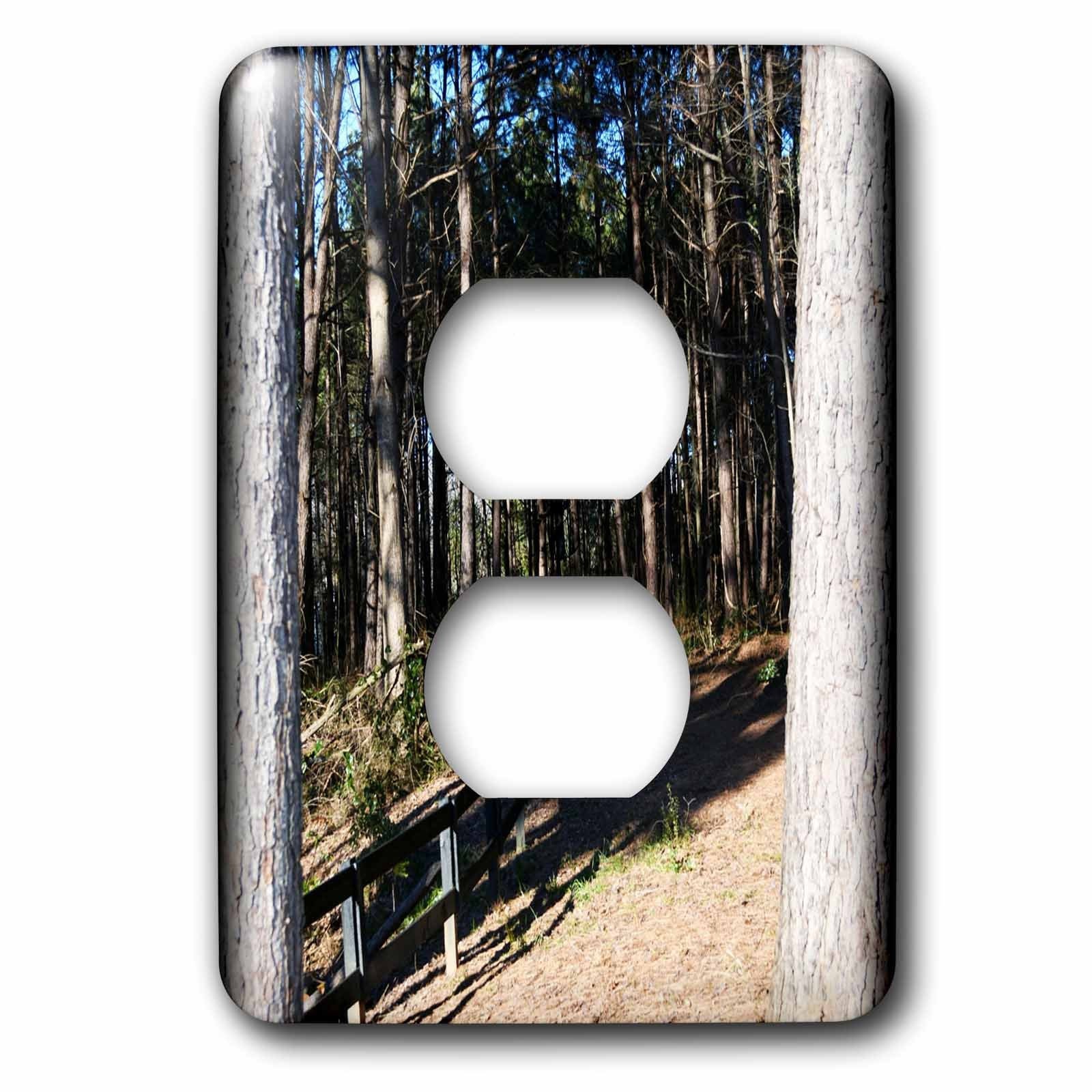 3dRose WhiteOaks Photography and Artwork - Nature Scene - The Entrance is a photo of a natures path walking into the woods - Light Switch Covers - 2 plug outlet cover (lsp_265324_6)