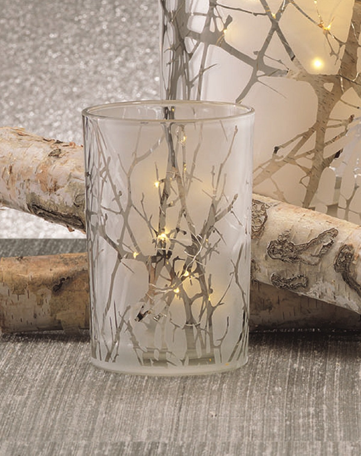 7'' Long Etched LED Hurricane Candle Holder, Branch Design, Gold (Set of 2) by Zodax