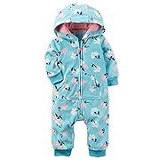 Carter's Baby Girls Fleece Hooded Romper Jumpsuit, Aqua Floral, 3M