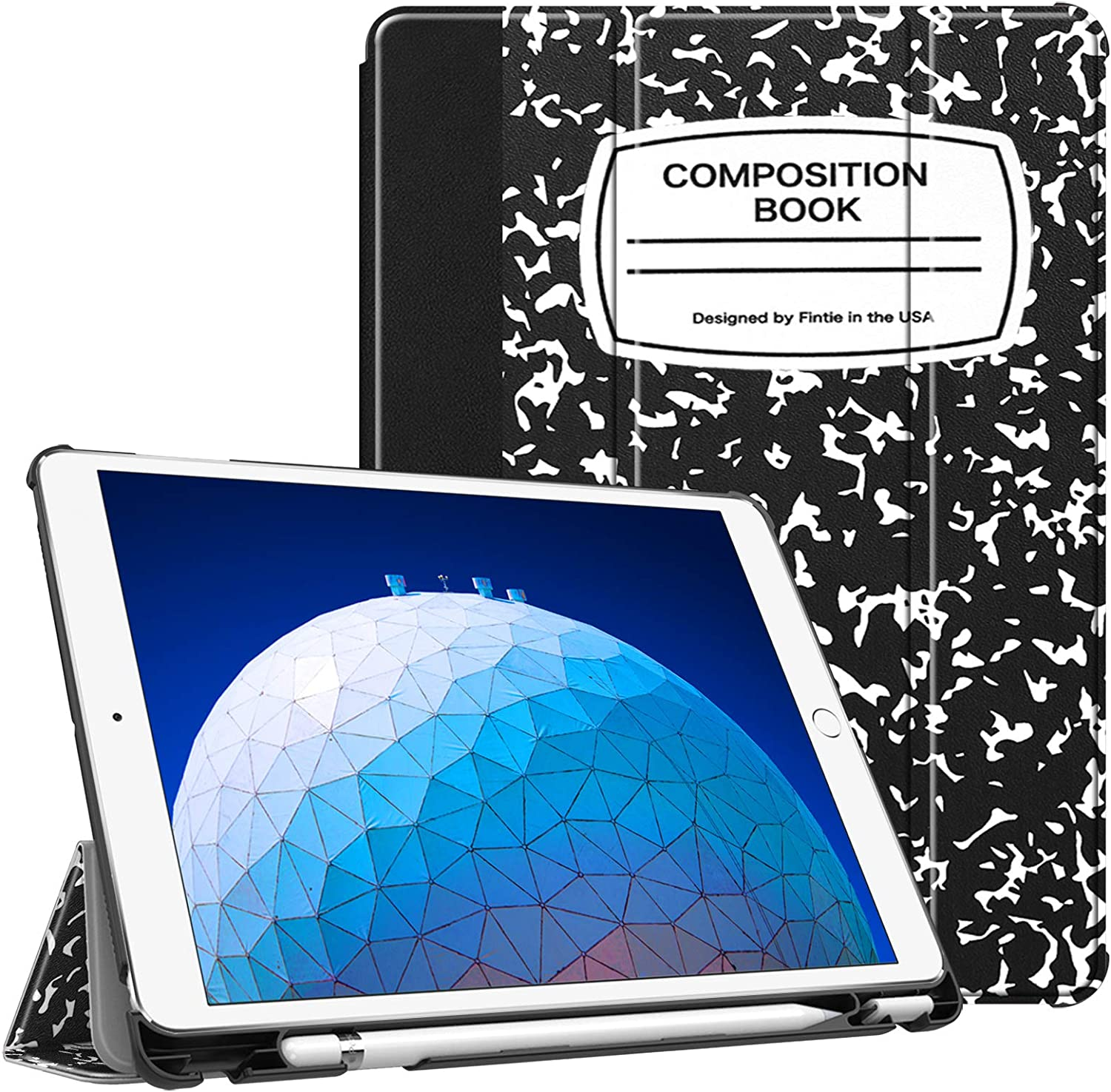"""Fintie Case for iPad Air (3rd Gen) 10.5"""" 2019 / iPad Pro 10.5"""" 2017 - [SlimShell] Ultra Lightweight Standing Protective Cover with Built-in Pencil Holder, Auto Wake/Sleep (Composition Book)"""