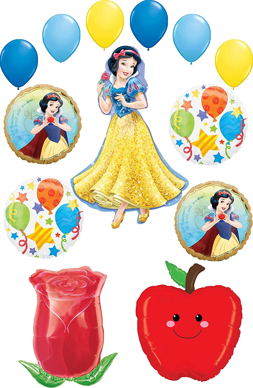 Snow White Party Supplies Princess, Apple and Rose Birthday Balloon Bouquet Decorations