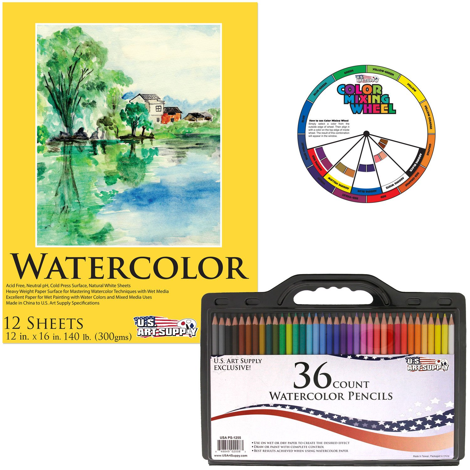 Watercolor artist magazine customer service - Amazon Com Us Art Supply 36 Piece Watercolor Artist Grade Water Soluble Colored Pencil Set Full Sized 7 Inch Length Now Includes A Free Reusable Plastic