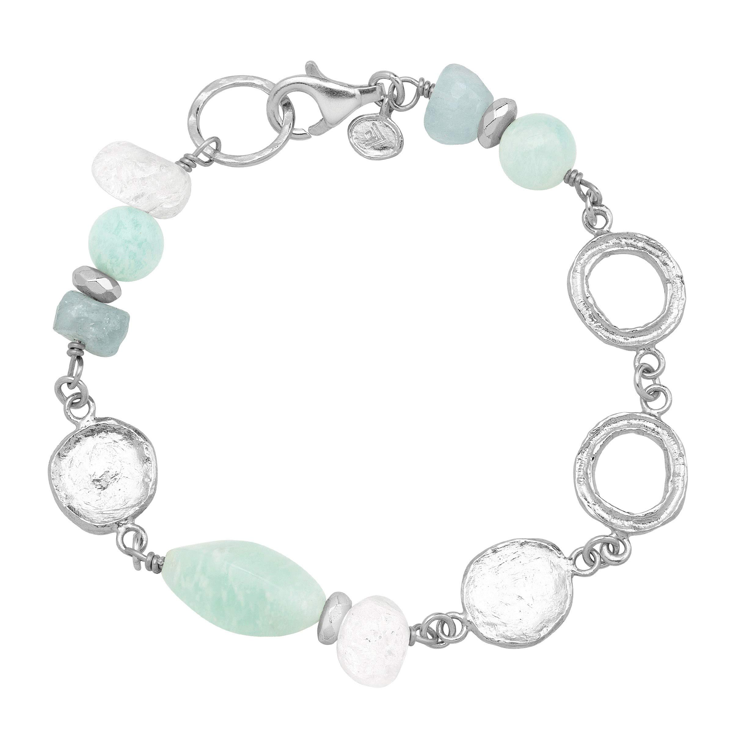 Silpada 'Boardwalk' Natural Aquamarine Link Bead Bracelet in Sterling Silver, 7.5''