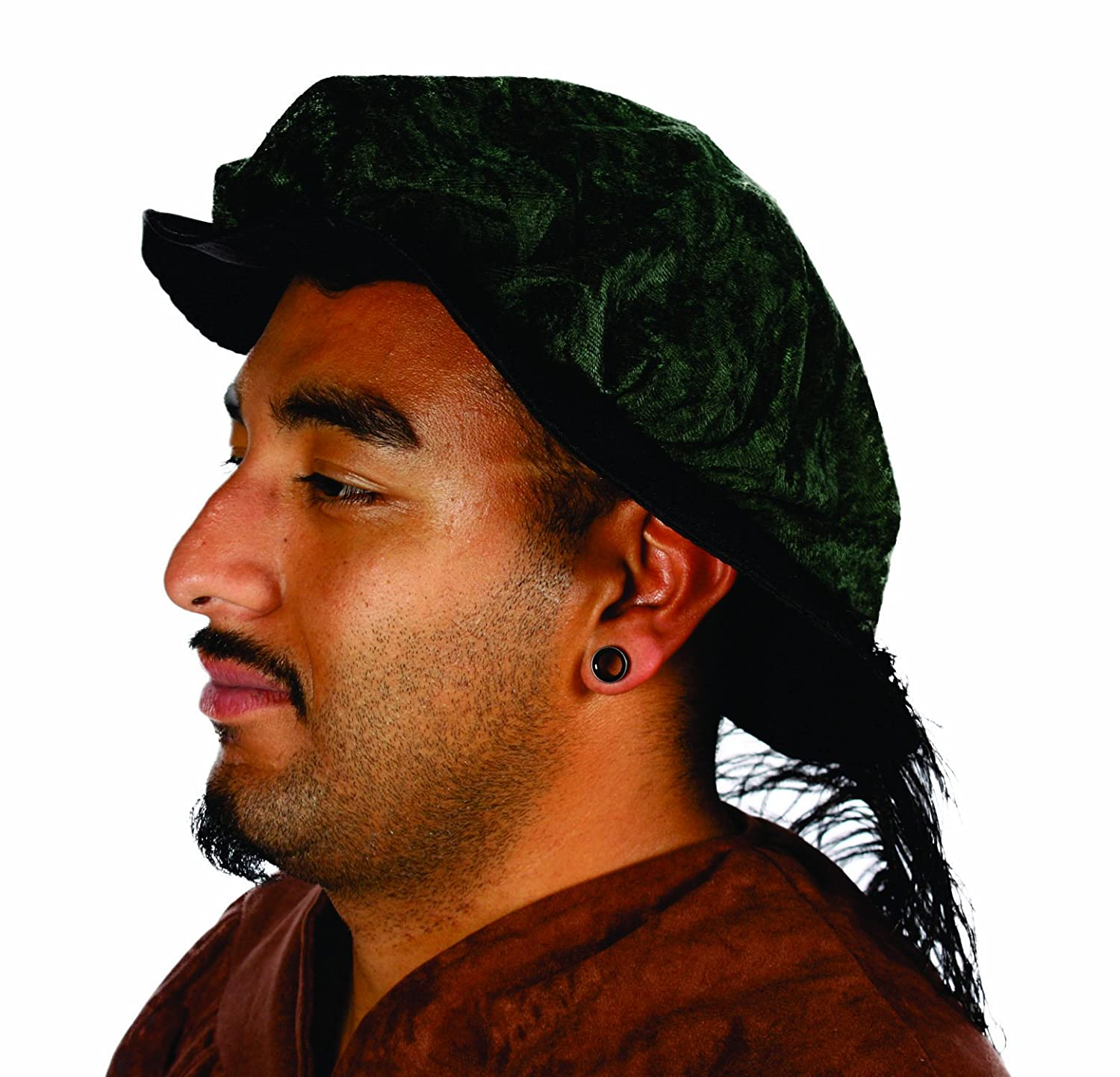 Men's Renaissance Green Crushed Velvet Feathered Muffin Hat - DeluxeAdultCostumes.com
