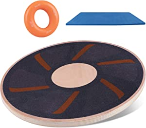 Leadhom Wooden Wobble Balance Board, Round Balance Board Training with TPE Non-Slip Mat, Exercise Board for Physical Therapy, Home Gyms