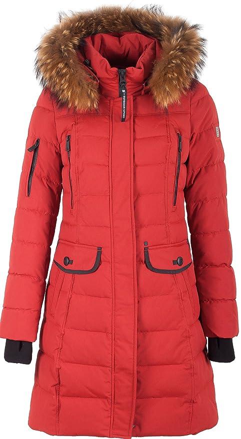 Grimada V304 Damen Wintermantel Daunen Optik SNOWIMAGE mit Echtfellkapuze