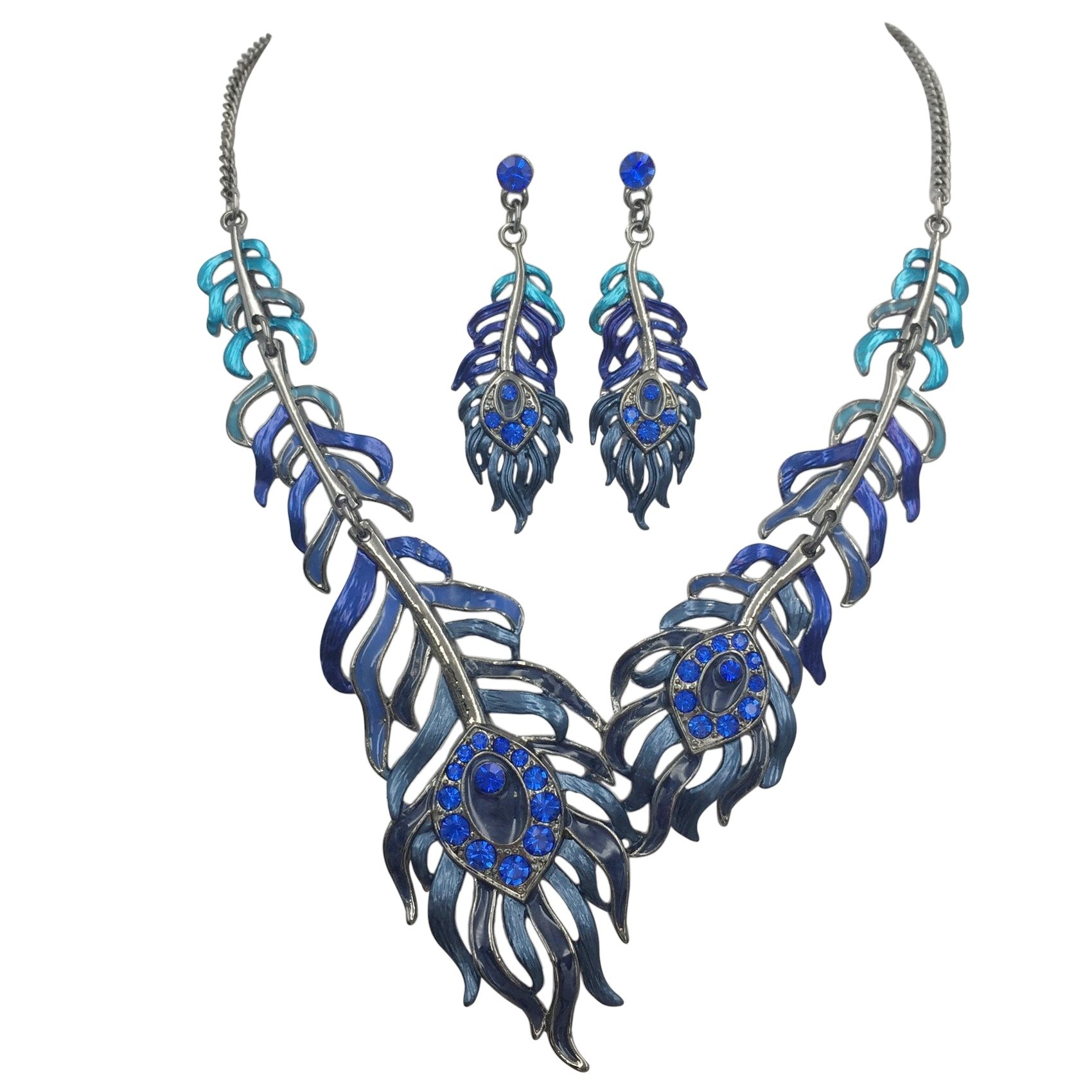 Gypsy Jewels Feather Leaves Statement Short Necklace & Earrings Set (Blue Tones)