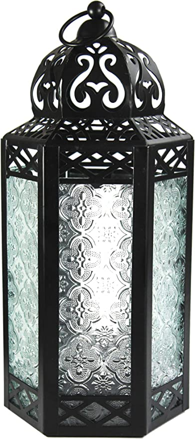 Amazon Com Vela Lanterns Moroccan Style Candle Lantern With Led Fairy Lights Large Clear Glass Home Kitchen
