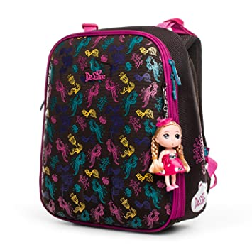 Delune Kids Backpack Waterproof School Bag for Girls with Large Capacity  and Orthopedic Design (Brown)  Amazon.co.uk  Luggage fcadeca74dadd