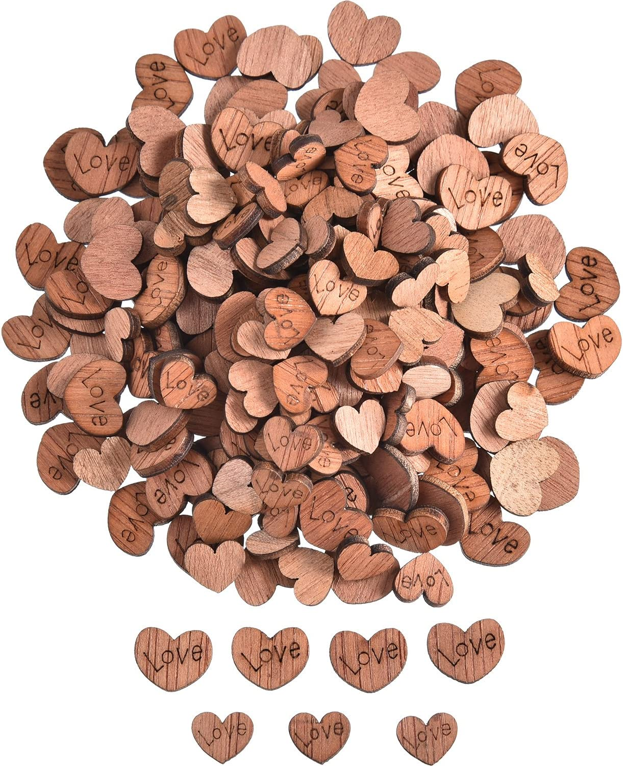 400 Pieces Wooden Love Hearts Natural Ornaments Crafts Decor Rustic Wooden Pattern Love Heart Wedding Table Decoration Crafts (Color 1)