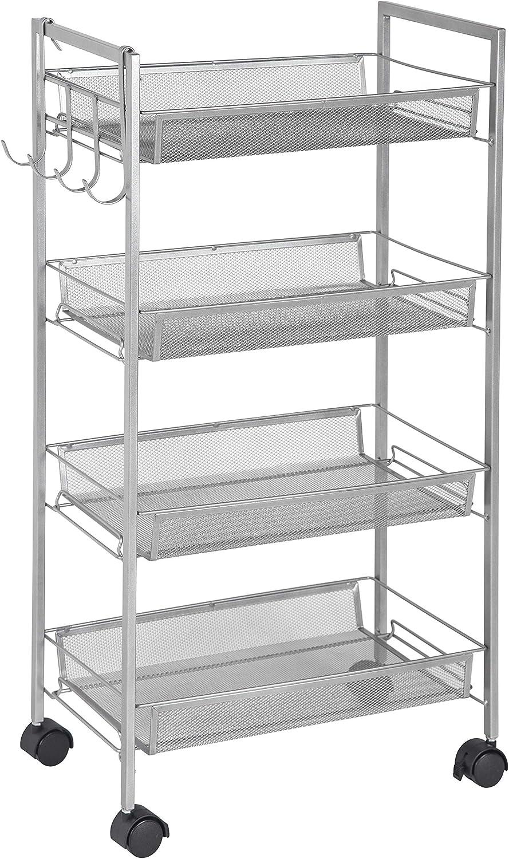 GreenWay 4-Tier Mobile w/Side Hooks Storage Cart, Silver