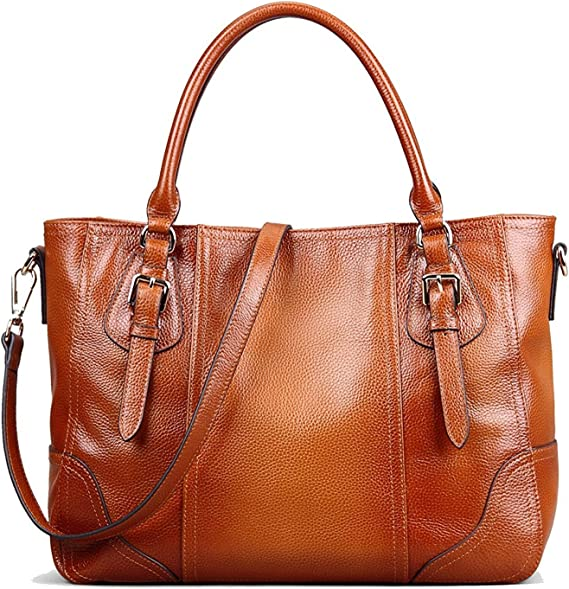 S-ZONE Women's Genuine Leather Tote Shoulder Bag Handbag Purse Large Capacity