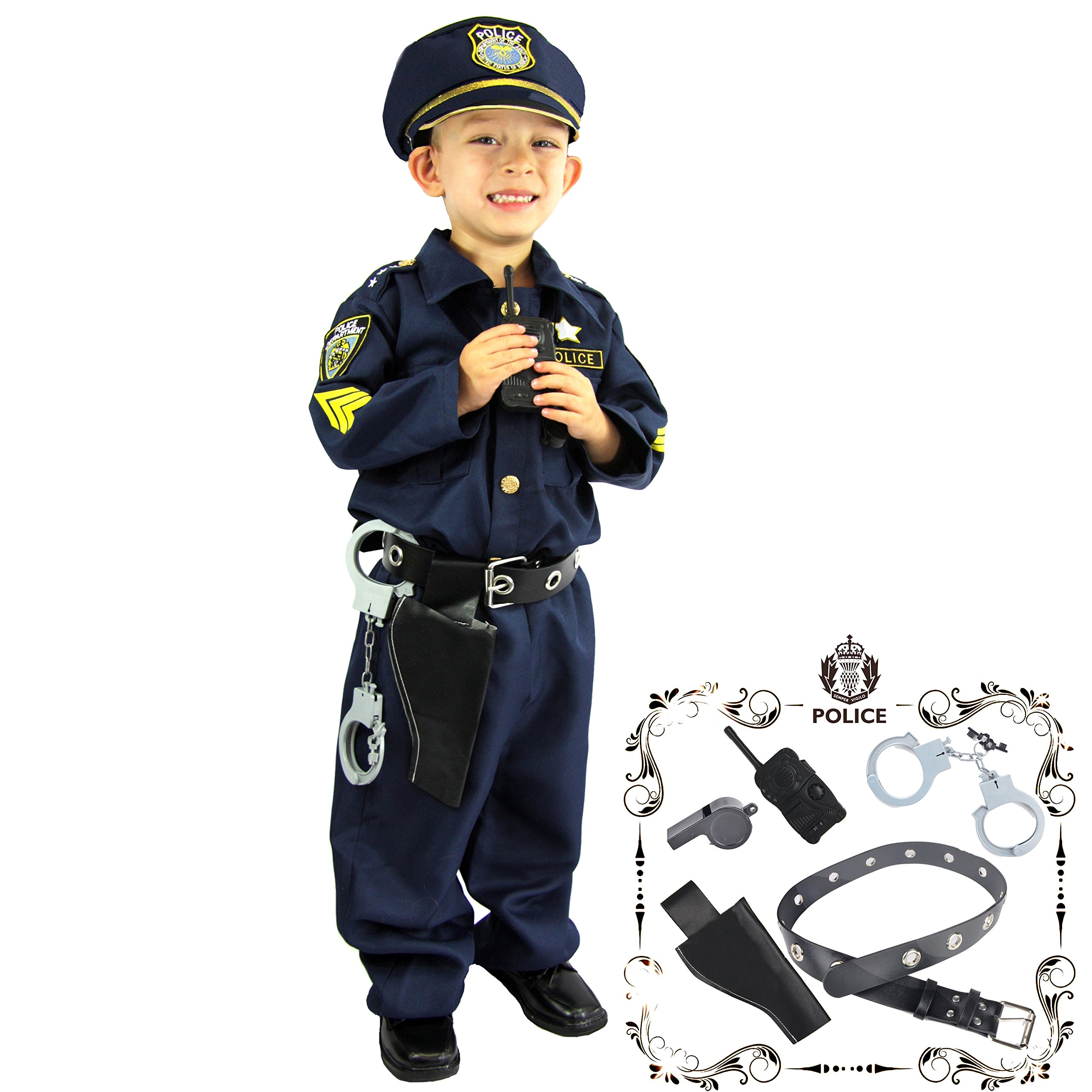 Joyin Toy Spooktacular Creations Deluxe Police Officer Costume for Kids and Role Play Kit (Small)