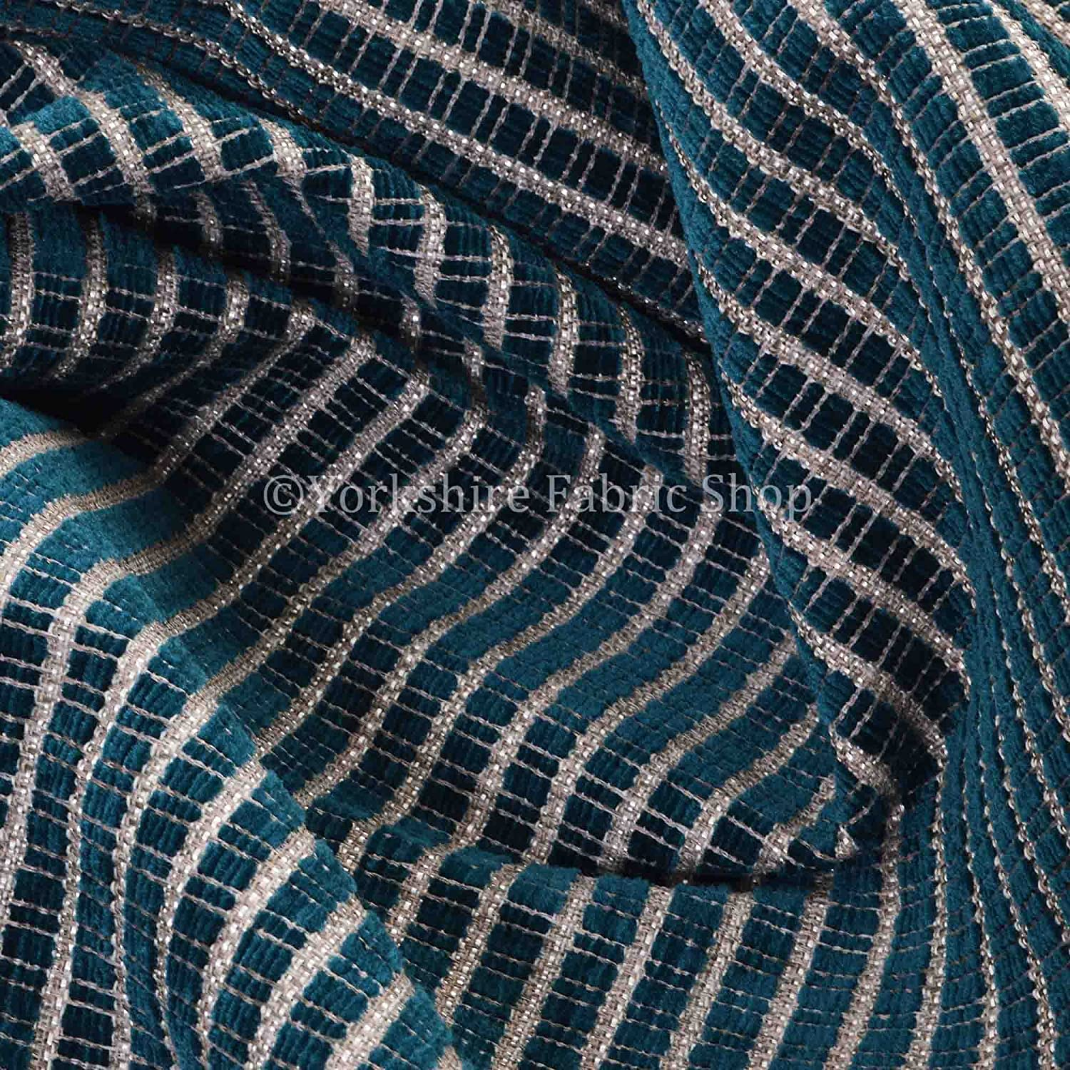 Textured Weave Hopsack Chenille Soft Upholstery Curtain Sofa Material Fabric In Teal Blue