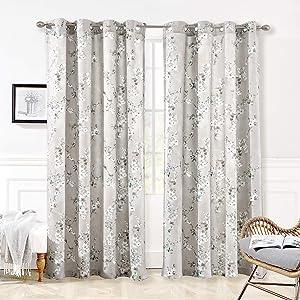 "DriftAway Mackenzie Thermal/Room Darkening Grommet Unlined Window Curtains, Blossom Floral Pattern, Living Room, Bedroom, Energy Efficient, Set of Two Panels (Blue/Gray, 50""X84"")"