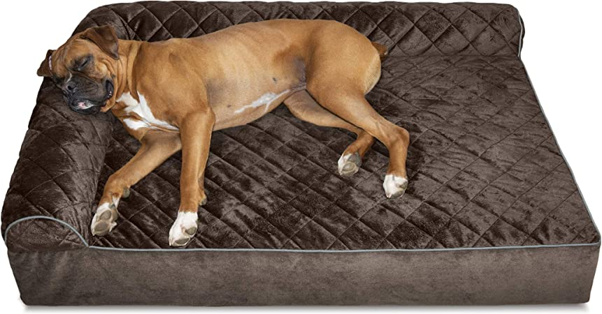 Furhaven Pet Dog Bed Deluxe Orthopedic Goliath Quilted L Chaise Couch Pet Bed For Dogs Cats Espresso 2xl Amazon Ca Pet Supplies