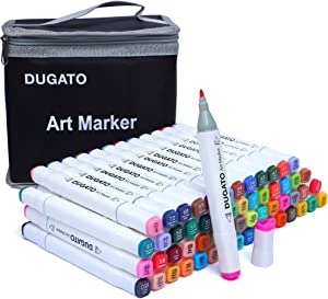 DUGATO 60+1 Colors Alcohol Art Markers, Plus 1 Colorless Blender, Dual Tips Permanent Art Markers for Kids, Highlighter Pen Sketch Markers for Drawing Sketching Adult Coloring, Alcohol-Based Markers