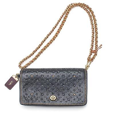 02ee3e2cc8 Coach Black Western Rivets Dinky Crossbody Black Glove tanned Leather  Handbag New  Handbags  Amazon.com