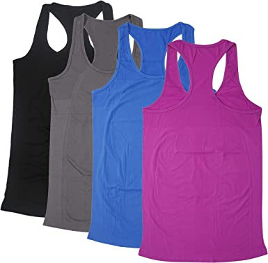 Racerback Yoga Tops for Women Workout Tanks Round Neck Activewear Sport Clothes