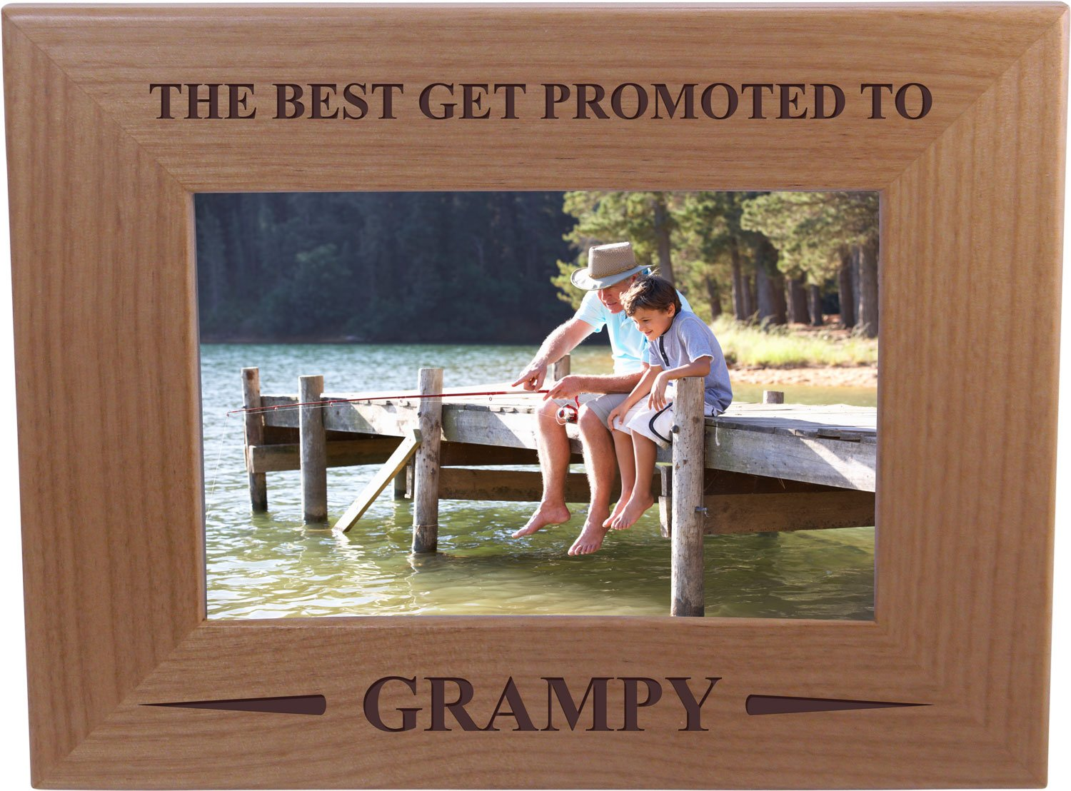 Only The Best Get Promoted Grampy - 4x6 Inch Wood Picture Frame - Great Gift for Father's Day, Birthday, or Christmas Gift for Dad, Grandpa, Grandfather, Papa, Husband by CustomGiftsNow