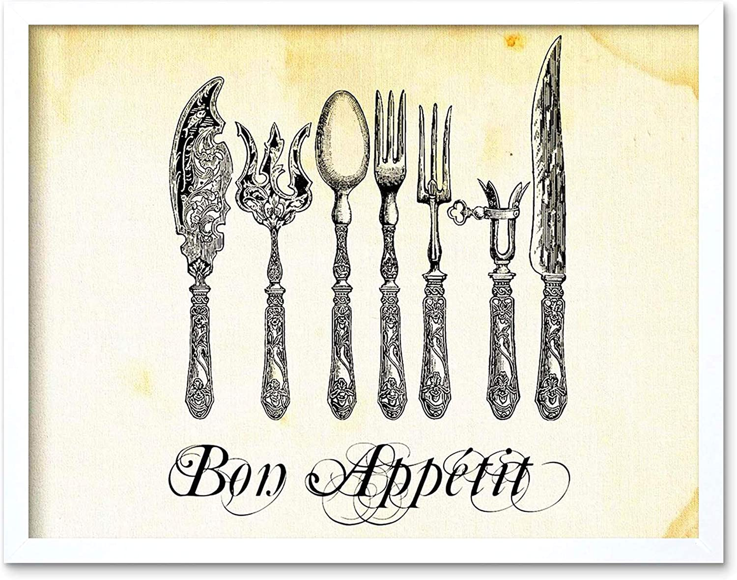 Wee Blue Coo Painting Drawing Sketch Cutlery Silver Bon Appetit Fork Knife Spoon Ornate Art Print Framed Poster Decor Art Print Framed Poster Wall Decor 12x16 inch