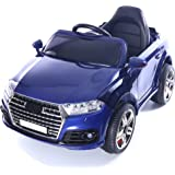 Midi Audi Q7 Style 12V Children's Ride-On Battery Operated Electric Jeep Car, Rechargeable (UK Charger) With 2.4G Parental Remote, Lights, Music and Suspension - Blue