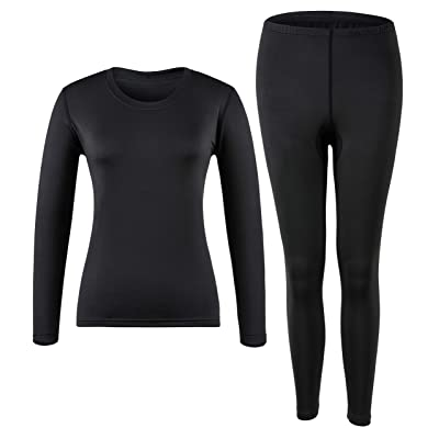 MOLLDAN Women's Long Johns Baselayer Thermal Underwear Tops & Bottom Set with Fleece Lined at Women's Clothing store