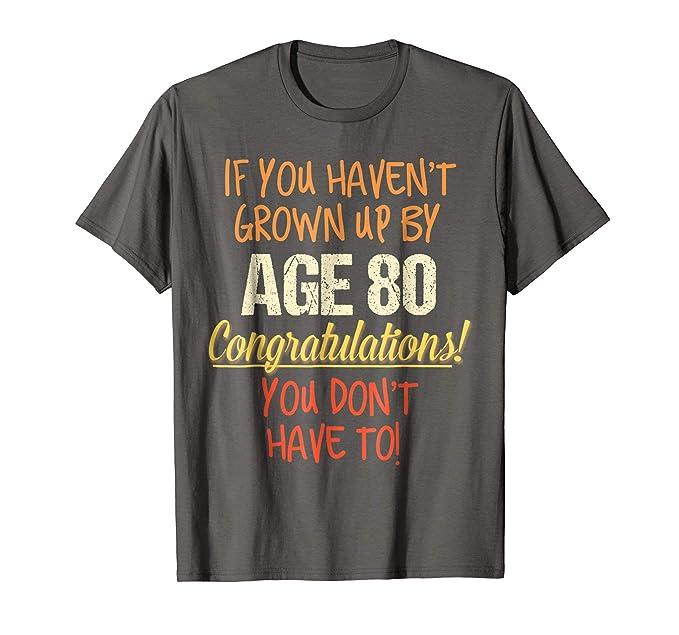 Mens Funny 80th Birthday Gift Shirt 80 Years Old Saying Tee 2XL Asphalt