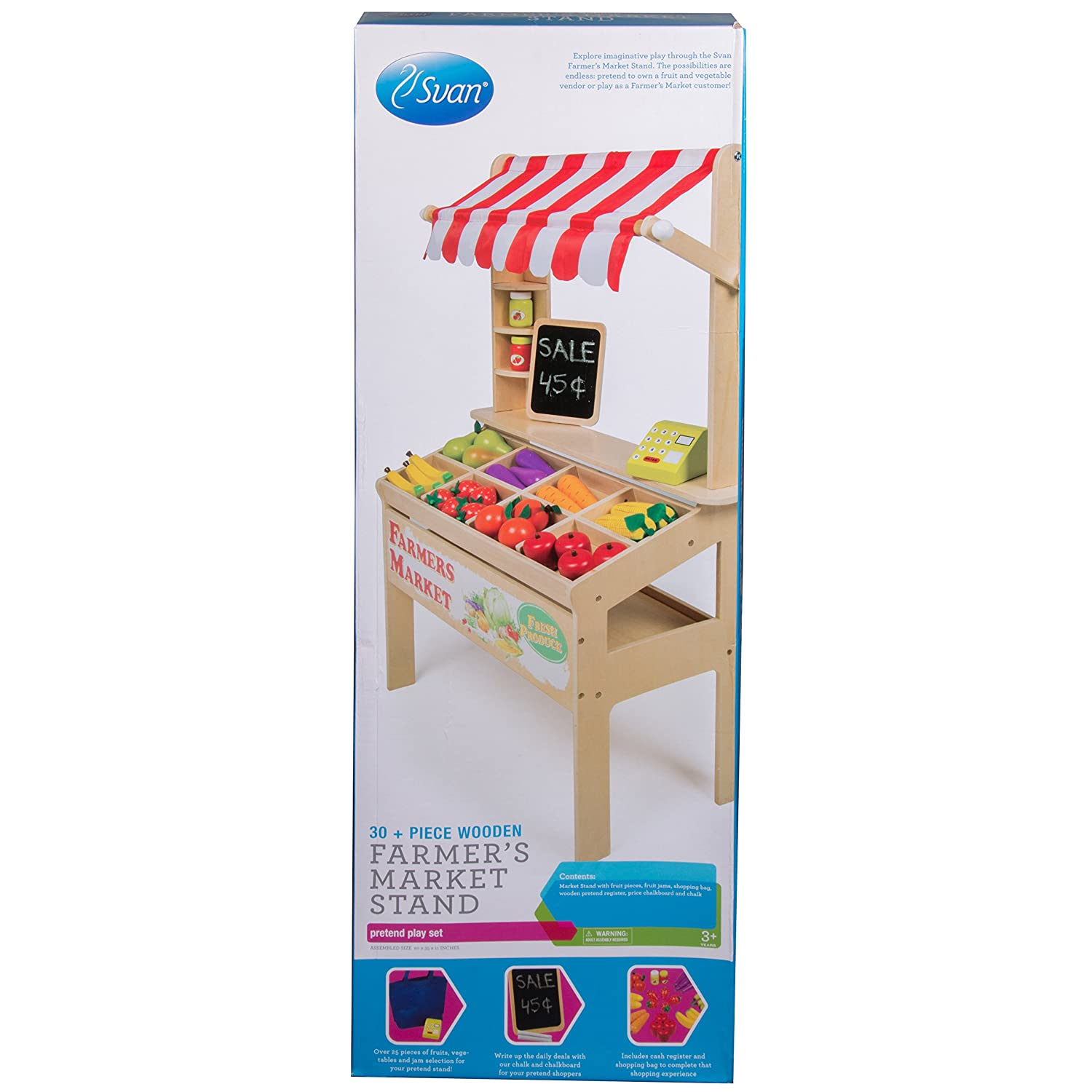 Wooden Farmers Market Stand   Kids Playroom Furniture Grocery Stand For  Pretend Play (30+ Pieces)   Includes ...