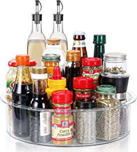 Lazy Susan, 12 inch Round Food Storage Container Plastic Condiment Spice Rack, Spinning Cosmetic Makeup Organizers for Countertop Table Pantry Bathroom