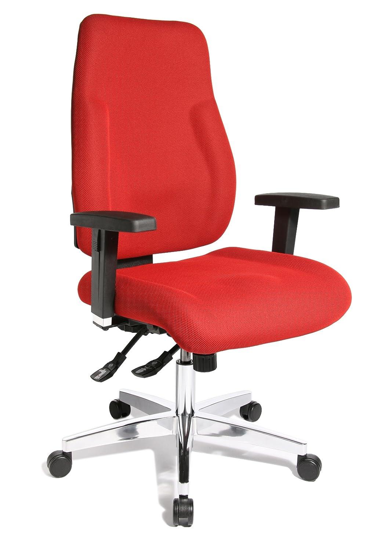 Topstar PI99GBC1 P91, Bürostuhl, Schreibtischstuhl, breiter Muldensitz, inkl. höhenverstellbare Armlehnen, Konturpolsterung, Bezug rot