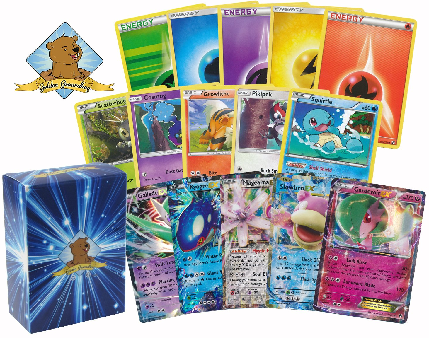 100 Assorted Pokemon Card Lot with 5 EX ULTRA RARES! Includes Golden Groundhog Box!