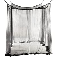 SODIAL(R) 4-Corner Bed Netting Canopy Mosquito Net for Queen/King Sized Bed 190 * 210 * 240cm (Black)