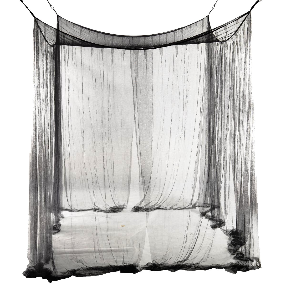 SODIAL(R) 4-Corner Bed Netting Canopy Mosquito Net for Queen/King Sized Bed 190 * 210 * 240cm (Black) STK0115011115