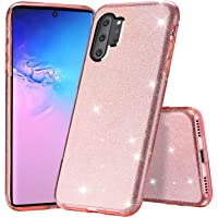 Tsjwee Glitter Slim Bling Crystal Clear 3 Layer Hybrid Protective Anti-Scratches Case for Samsung Galaxy Note 10 (Pink)