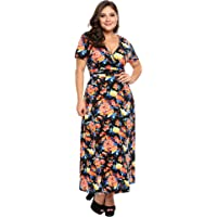 Involand Women Plus Size Sleeveless A-Line Printed Cocktail Swing Dress(16W_24W)