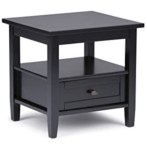 Simpli Home AXWSH002-BL Warm Shaker Solid Wood 20 inch wide Rustic End Side Table in Black