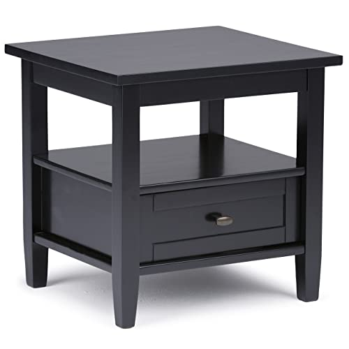 Simpli Home AXWSH002-BL Warm Shaker Solid Wood 20 inch Wide Rectangle Rustic End Side Table in Black