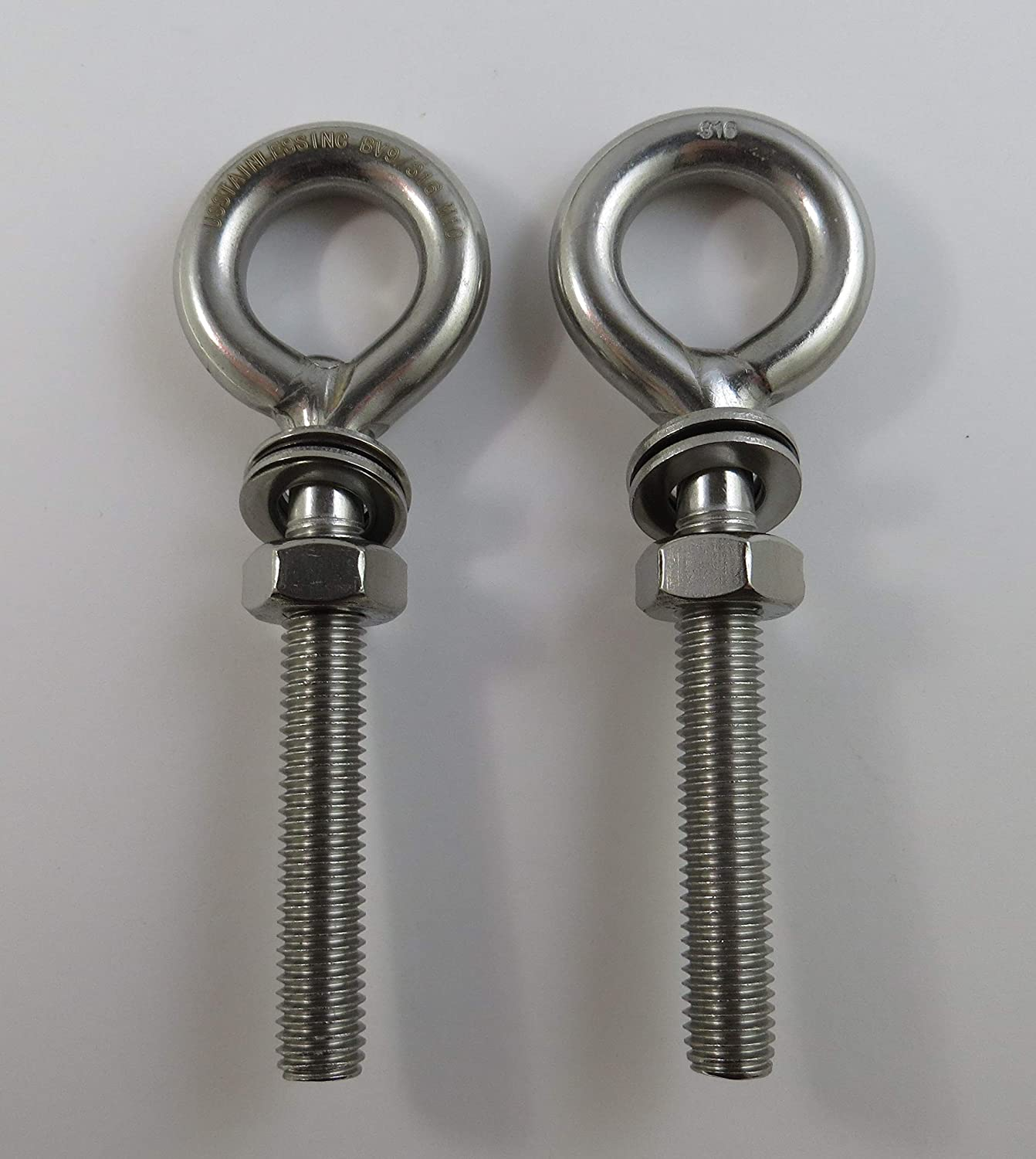 Marine Grade 2 Pieces Stainless Steel 316 M10 Eye Bolt 10mm x 60mm 3//8 x 2 3//8