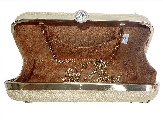 c7ddb7df02b Spice Art Golden Gota Patti Zardozi Embroidered Designer Box Clutch for  Ladies: Handbags: Amazon.com