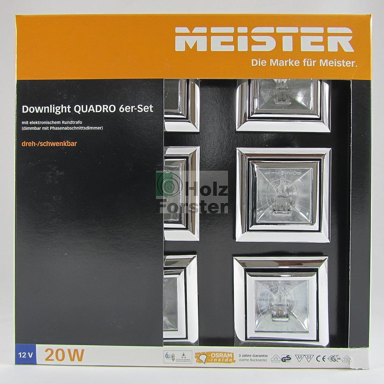 MEISTER Downlight Quadro Quadro Quadro 12Volt 20Watt, Titan, 6er Set ba14a9